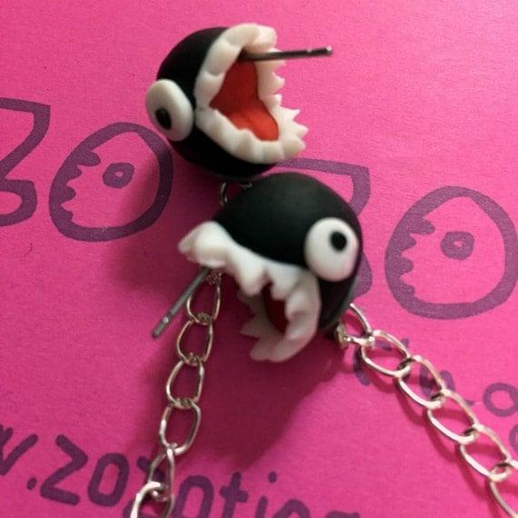 mario chain chomp earrings by zozotings on etsy