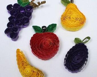 QUILLED FRUIT MAGNETS Set of 6 New Handmade Quilling Paper Craft Art Filigree Creations
