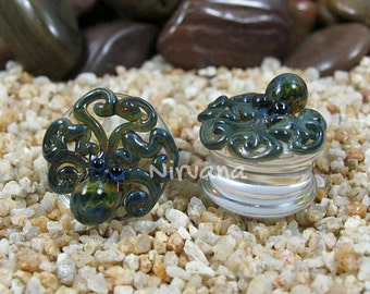 "Exotic Dark Green Octopus Plugs Pyrex Glass 1 Pair 00g 7/16"" 1/2"" 9/16"" 5/8"" 3/4"" 1"" 9.5 mm 10 mm 12 mm 14 mm 16 mm 18 mm 20 mm 22 mm 25 mm"