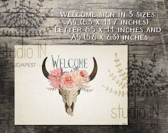 Welcome sign printable, wedding welcome sign, bohemian welcome printable, rustic welcome sign, rustic wedding printable, INSTANT DOWNLOAD