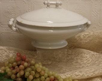 Lovely Vintage White Soup Tureen/Covered Dish; Semi Porcelain