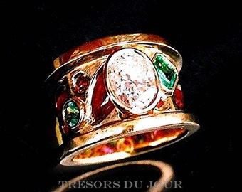 Unique Diamond Multi Stone Ring, Diamond CONFETTI RING GOLD Emeralds Rubies Diamonds one of a kind Ring Renaissance Revival Etruscan Ring