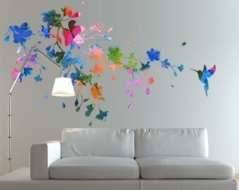 Hummingbird Sticker - Floral Watercolor - Wall Art Decal - Colorful Floral Sticker - Home Design Wall Sticker
