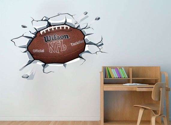 football ball on the wall decal sticker football boys room. Black Bedroom Furniture Sets. Home Design Ideas