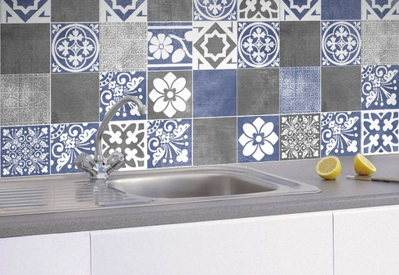 Adesivi di parete per piastrelle voga blu adesivi di parete for Piastrelle adesive cucina