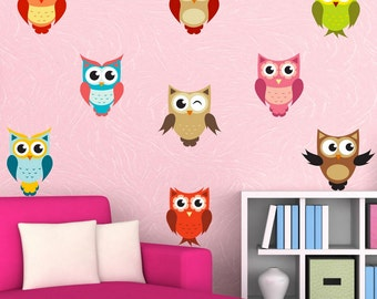 Full Colour Owl Stickers Wall Decal Cute Set Of Owls Nursery Kids Bedroom Baby Room Wall Stickers WSD228