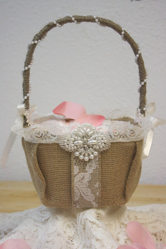 Flower Girl Baskets Burlap : Burlap and lace flower girl basket