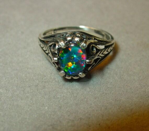 Engagement ring Genuine Australian Natural Opal ring Medium
