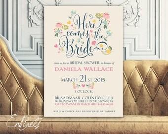 Printable Bridal Shower Invitation - Vintage Floral Invitation - Wedding Invitation  - Bridal Postcard - Transparent Background - DIY