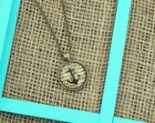 Anchor and script vintage pendant antique bronze necklace