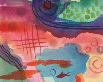 Aquatic Abstract, Signed,Original