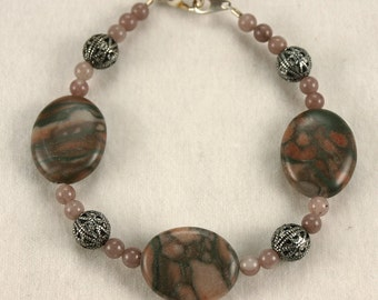 Canyon Marble, Pewter and stone bead braclet - B004MFL
