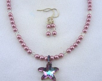 SwSwarovski Rose Crystal, Rose Pearl Necklace with Starfish Pendant and matching Earrings - N013BFL
