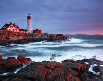 "Portland Head Lighthouse Maine ""Guardians Ablaze"" Coastal Ocean Cape Elizabeth Atlantic Paper Print - Landscape Travel Photography"
