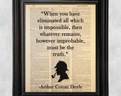 Improbable Truth Quote, Sherlock Holmes,Dictionary Art Print, Printed on Vintage Dictionary Paper, Recycled, Upcycled, 8x10 Print (#125)