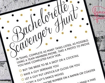 Bachelorette Scavenger Hunt Game Black and Gold
