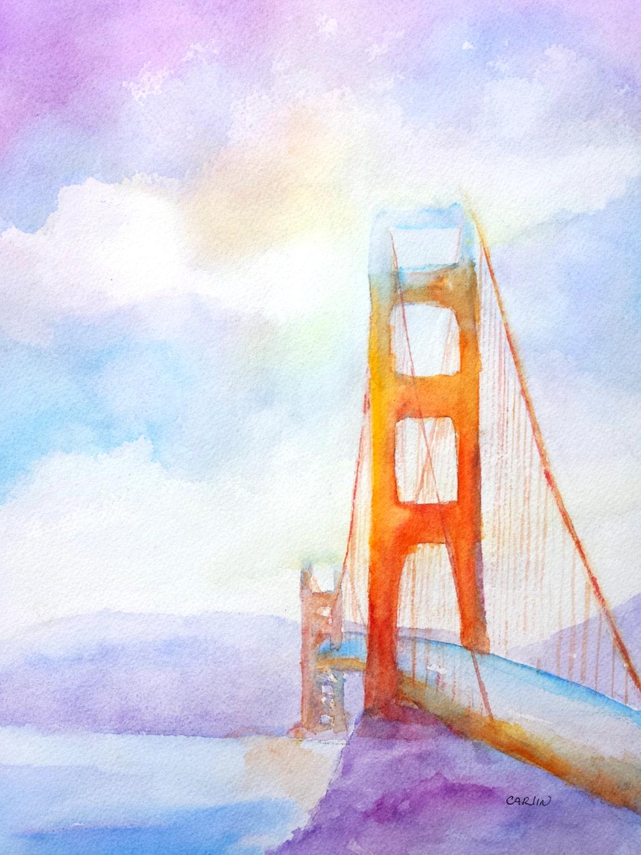 Golden Gate Bridge Original Watercolor 9x12 San