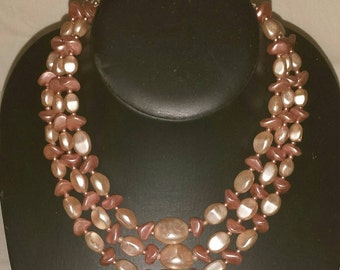 Vintage 1950s Pink Textured Glass Triple Strand Beaded Choker Necklace