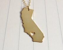 Personalized California Necklace,California State Charm Necklace,CA State Necklace,Silver State Necklace,State Shaped Necklace  With A Heart