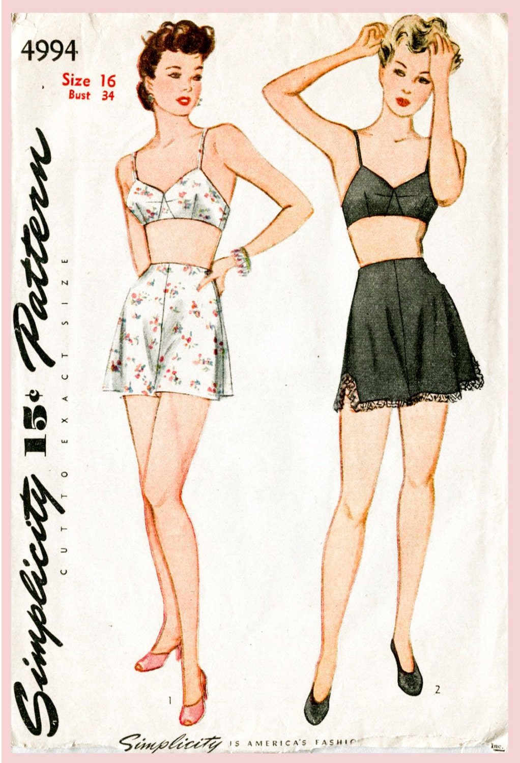 vintage sewing pattern 1940s 40s lingerie bra and tap shorts