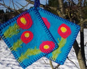 Pot holders - hot pads - felted hot pads - wool hot pads - wool potholders - set of two - set of 2 - felt gift - kitchen decor - trivets