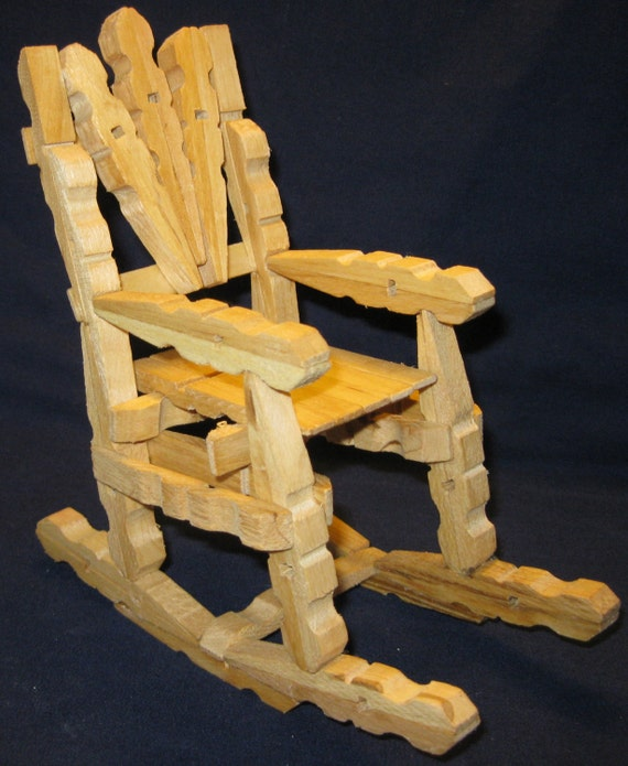 Items similar to wooden clothes pin rocking chair on etsy for Small wooden rocking chair for crafts