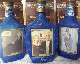 "Jim Bean Decanters, ""Whistler's Mother"", ""American Gothic"", ""Indian Maiden"" with boxes"