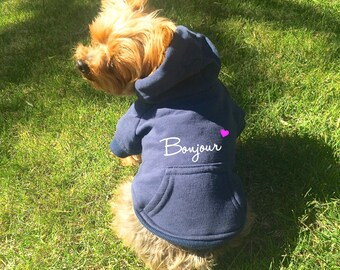 Bonjour Dog Hoodie. Navy Blue Dog Sweatshirt w/ White Text & Pink Heart. Cute Dog Clothes. Custom Dog Apparel. French-Themed Dog Clothes.