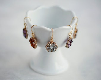 CRYSTAL DROP EARRINGS / gold and crystal earrings / bridesmaid gift jewelry / wishpiece