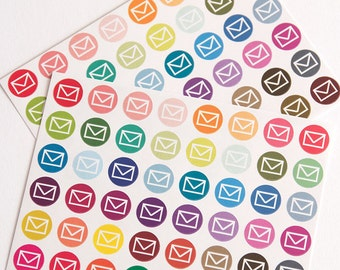 48 envelope stickers, mail stickers, planner stickers, post office stickers, letter mailbox stickers eclp filofax happy planner kikkik