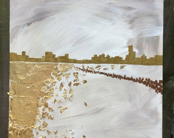 "New York Cityscape on the water on wood 12""x12"""