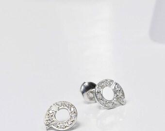 """Chips earrings / silver & zirconium oxides """"Ennead"""""""