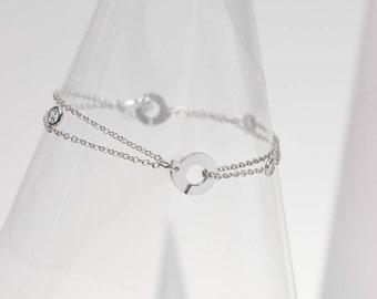 """Double-chain bracelet """"01"""" / Silver & zirconium oxides """"Ennead"""""""