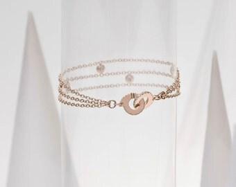 "Bracelet 3 rows / red gold & diamonds ""Ennead"""
