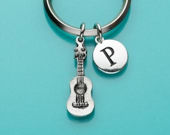 Guitar Keychain, Guitar Key Ring, Musician Keyring, Musical Instrument, Personalized Keychain, Custom Keychain, Charm Keychain, 172