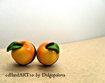 Colorful apple polymer clay earrings - Fruits - Handmade - Jewelry - Best gift - Apples - Miniature food - polymer clay food