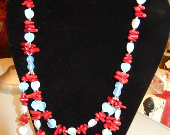 Moonstone and Coral beaded necklace