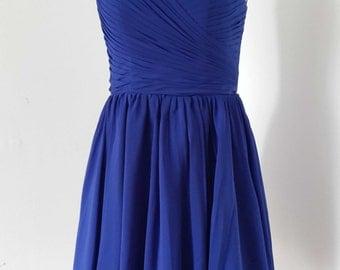Scoop Royal Blue Chiffon Short Bridesmaid Dress