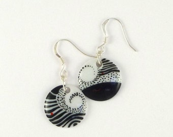 Porcelain Earrings, Black and White Jewelry, Earring with silver Hook earwires