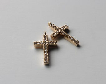 1 Micro pave CZ Cross Pendant, 18K Gold Plated, 22x12mm, DC-001