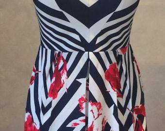 Navy blue striped dress, summer dress, floral dress, sleeveless dress, casual dress, holiday dress