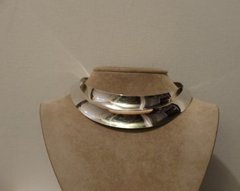 1980's  Gerhardt Modernist Double Tiered RARE Solid Sterling Silver Choker Necklace.