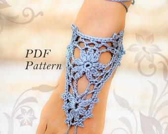PDF CROCHET Gray Barefoot sandals PATTERN #1