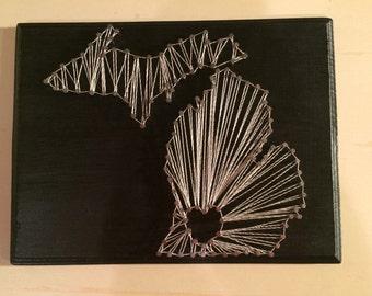 Michigan string art, state string art, string art, michigan art