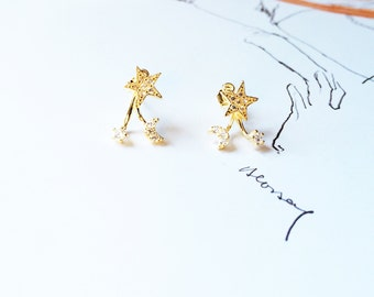 Moon Star Stud Earring Gold 925 Sterling Silver Stud Earring Diamond Earring Removable Stud Earring Set Simple Everyday Wedding Earring Gift