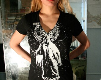 womens fashion, wizard t shirt, witch tee, witchery, heavy metal, occult t shirt, magician t shirt, 1AEON black wizard vneck S-XXL