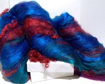 "Blue fiber art batt, felting wool, hand spinning fiber, ""OCEAN"", blue, cerulean, purple, aqua, teal, violet, cranberry red, wet nuno felting"