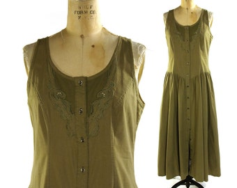 Cotton Sundress with Embroidered Cutwork / Button Up Princess Waist Dress in Khaki Cotton / Vintage 1980s