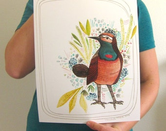 Bird Art - Bird Illustration Print - Bird Illustration Art Print - Poster Art Print - 11x14 Bird Print - Bird Art Print - Blue Throated Bird