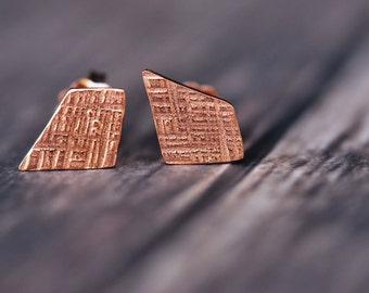 14K rose vermeil crosshatched dainty shape stud earrings
